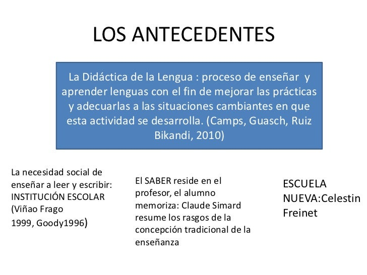 LOS ANTECEDENTES              La Didáctica de la Lengua : proceso de enseñar y             aprender lenguas con el fin de ...