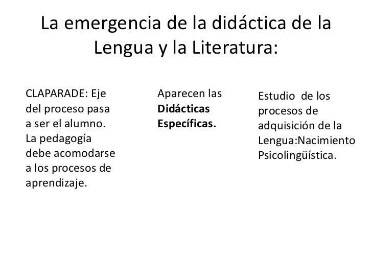 La emergencia de la didáctica de la       Lengua y la Literatura:CLAPARADE: Eje      Aparecen las   Estudio de losdel proc...