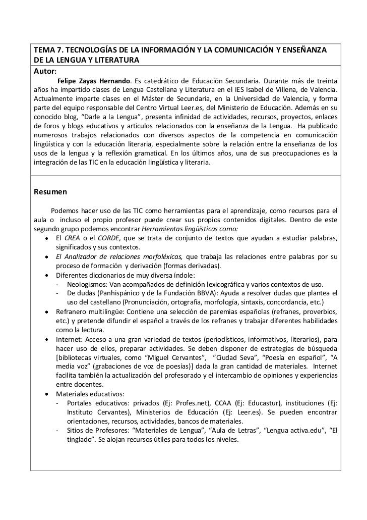 TEMA 7. TECNOLOGÍAS DE LA INFORMACIÓN Y LA COMUNICACIÓN Y ENSEÑANZADE LA LENGUA Y LITERATURAAutor:         Felipe Zayas He...