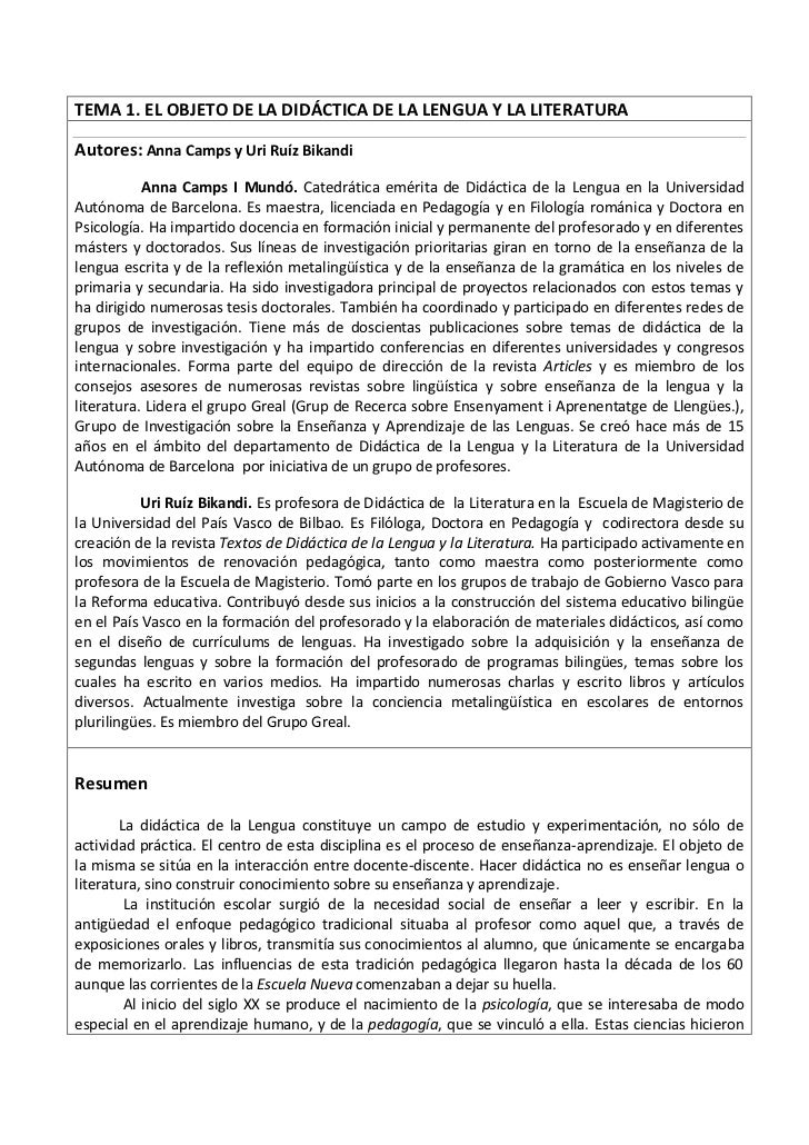 TEMA 1. EL OBJETO DE LA DIDÁCTICA DE LA LENGUA Y LA LITERATURAAutores: Anna Camps y Uri Ruíz Bikandi           Anna Camps ...