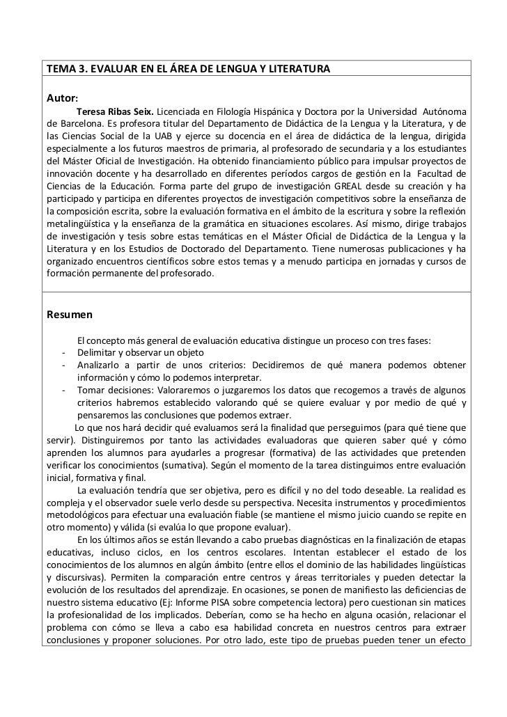TEMA 3. EVALUAR EN EL ÁREA DE LENGUA Y LITERATURAAutor:        Teresa Ribas Seix. Licenciada en Filología Hispánica y Doct...