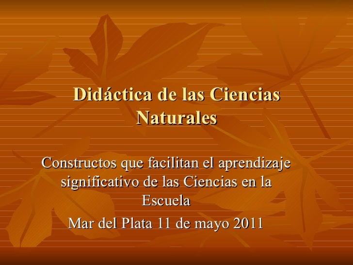 Didáctica de las Ciencias Naturales Constructos que facilitan el aprendizaje significativo de las Ciencias en la Escuela M...