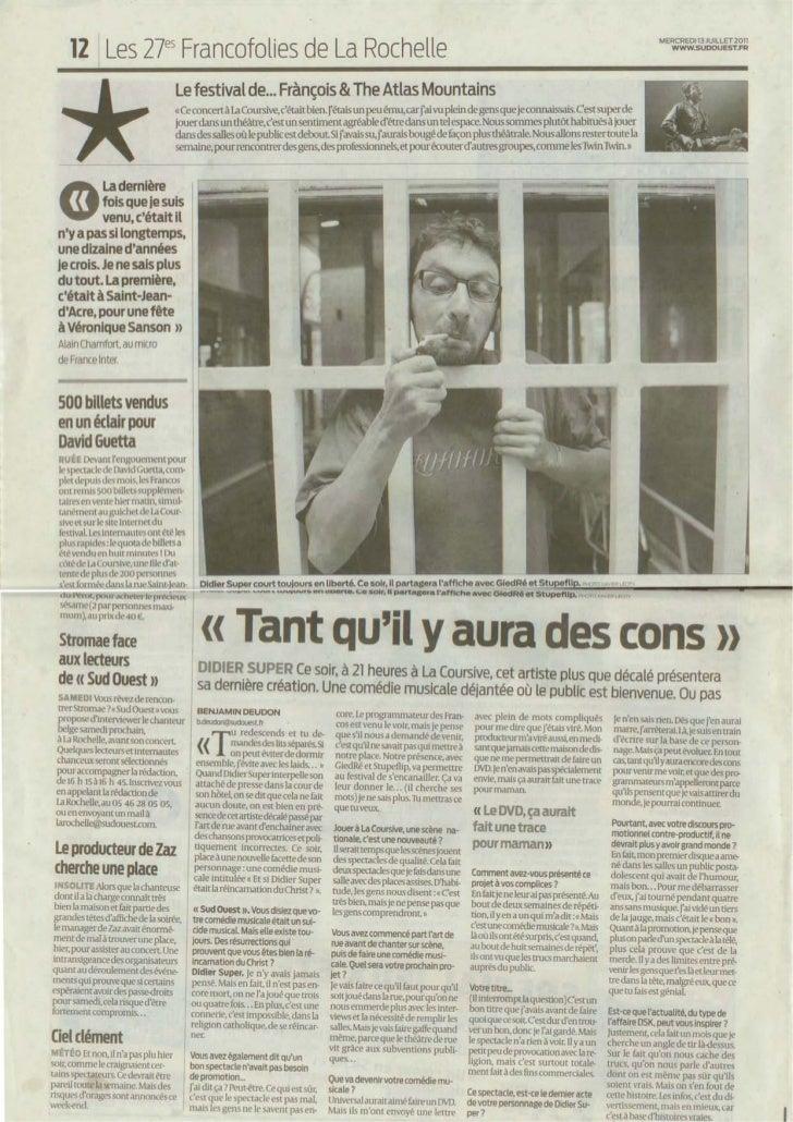 20 Minutes Lille + Paris 10-01-2011                        Article interview                        Par : Antoine Pecquet ...