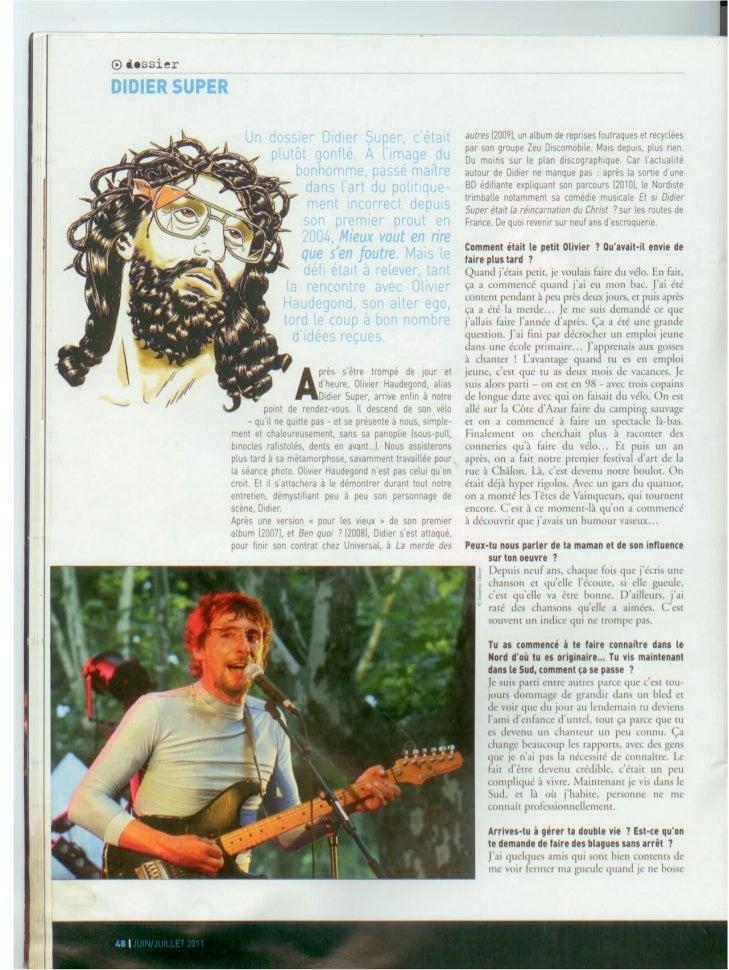 LIBERATION 12/08/2010Portrait, pleine page                                   Lien articlePar : Christophe Ayad   Tirage : ...