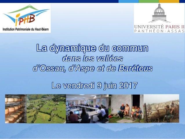 La dynamique du commun dans les vallées d'Ossau, d'Aspe et de Barétous Le vendredi 9 juin 2017