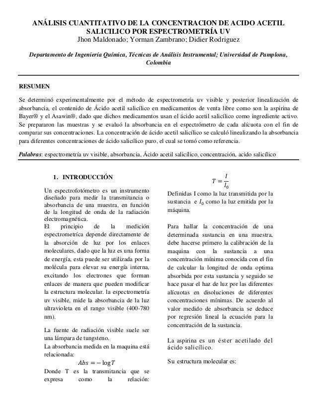 ANÁLISIS CUANTITATIVO DE LA CONCENTRACION DE ACIDO ACETIL SALICILICO POR ESPECTROMETRÍA UV Jhon Maldonado; Yorman Zambrano...