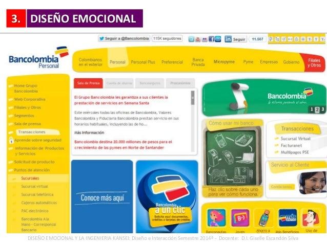 3. DISEÑO EMOCIONAL Y LA INGENIERIA KANSEI: Diseño e Interacción Semestre 2014ª - Docente: D.I. Giselle Escandón Silva DIS...