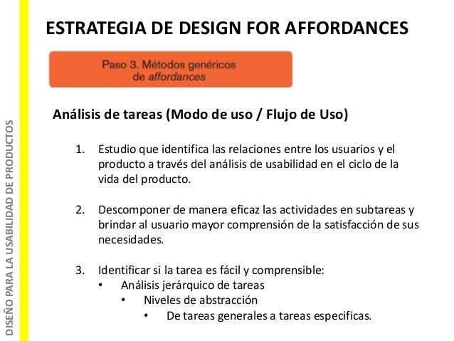 DISEÑOPARALAUSABILIDADDEPRODUCTOS ESTRATEGIA DE DESIGN FOR AFFORDANCES Análisis de tareas (Modo de uso / Flujo de Uso) 1. ...