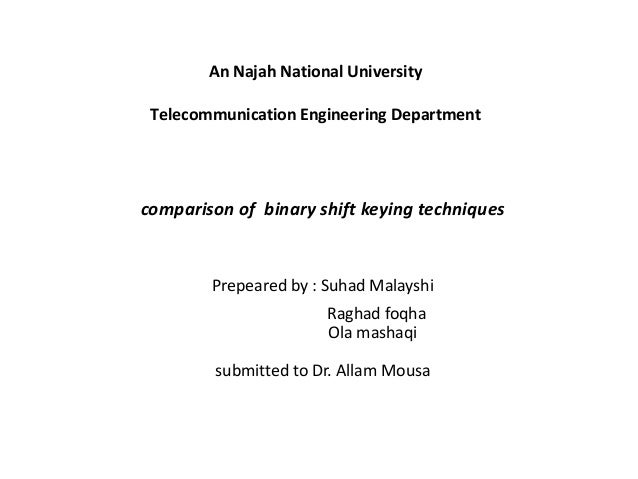 An Najah National UniversityTelecommunication Engineering Departmentcomparison of binary shift keying techniquesPrepeared ...