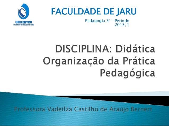 Professora Vadeilza Castilho de Araújo Bernert FACULDADE DE JARU Pedagogia 3° - Período 2013/1