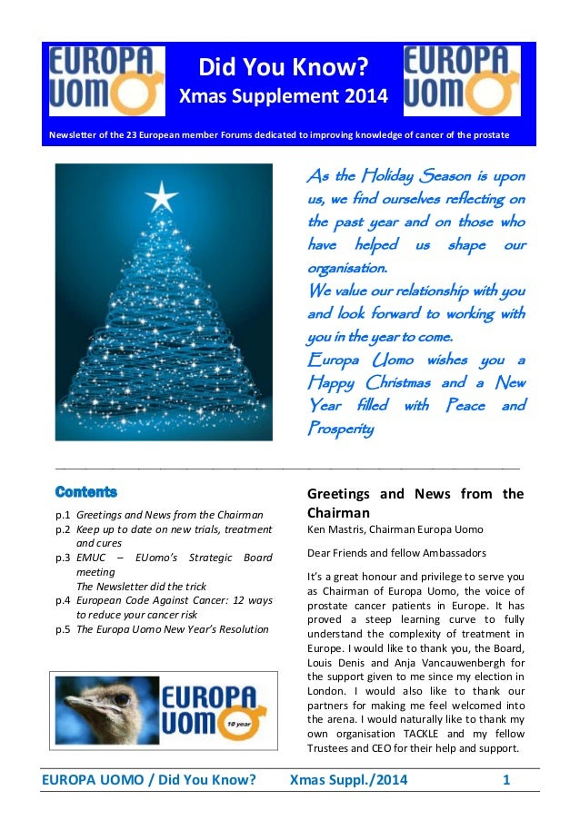 EUROPA UOMO / Did You Know? Xmas Suppl./2014 1 As the Holiday Season is upon us, we find ourselves reflecting on the past ...