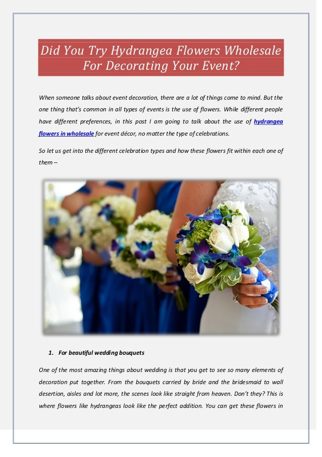 Did You Try Hydrangea Flowers Wholesale For Decorating Your Event
