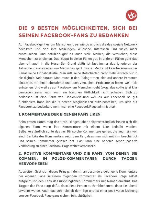 DIE 9 BESTEN MÖGLICHKEITEN, SICH BEI SEINEN FACEBOOK-FANS ZU BEDANKEN Auf Facebook geht es um Menschen. User wie du und ic...