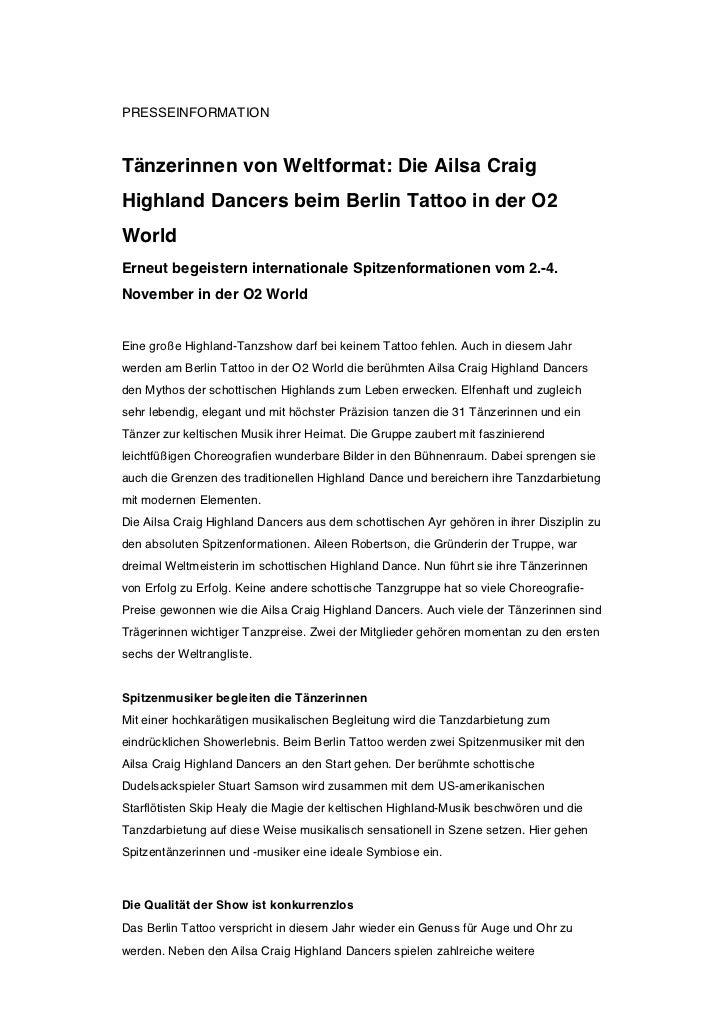 PRESSEINFORMATIONTänzerinnen von Weltformat: Die Ailsa CraigHighland Dancers beim Berlin Tattoo in der O2WorldErneut begei...
