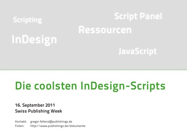 Scripting                                        Script Panel                                         RessourcenInDesign  ...
