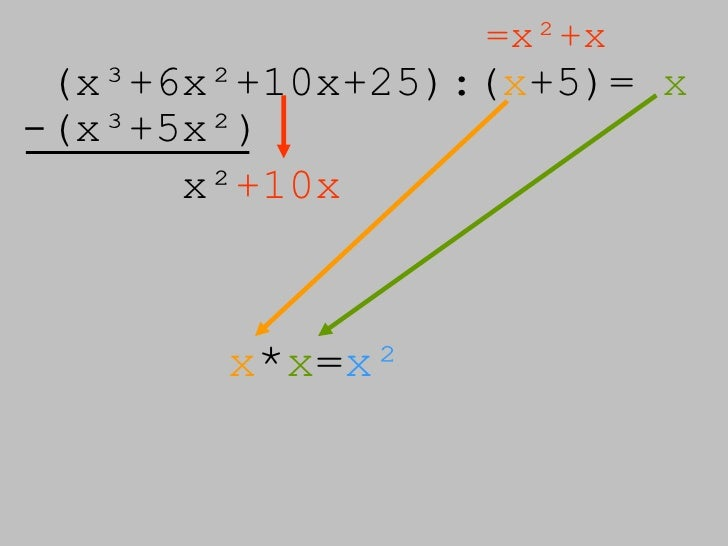 (x³+6x²+10x+25):( x +5)=  x =x²+x -(x³+5x²) x² +10x x * x = x²