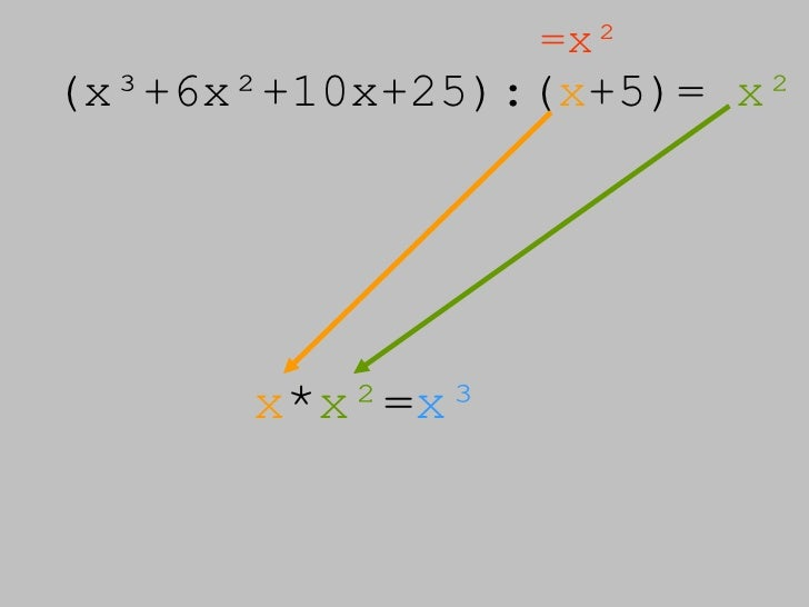 (x³+6x²+10x+25):( x +5)=  x² =x² x * x² = x³