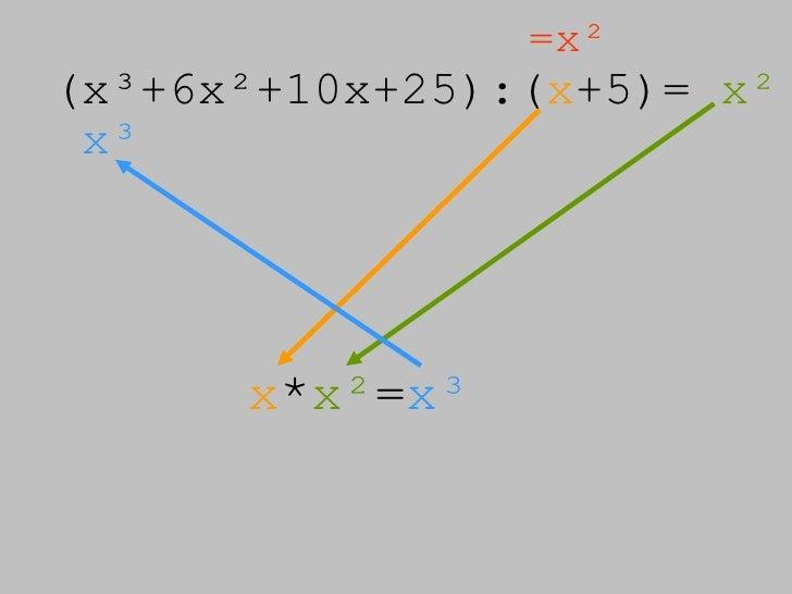 (x³+6x²+10x+25):( x +5)=  x² =x² x³ x * x² = x³