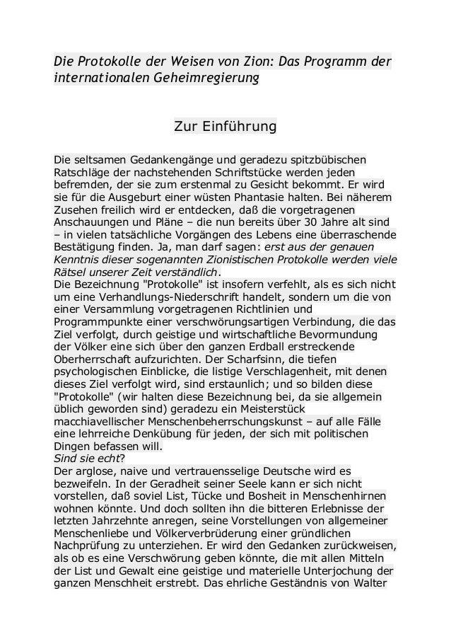 Die Protokolle der Weisen von Zion: Das Programm der internationalen Geheimregierung Zur Einführung Die seltsamen Gedanken...