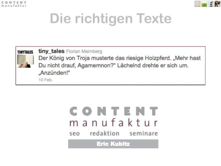 Die richtigen Texte<br />Eric Kubitz<br />