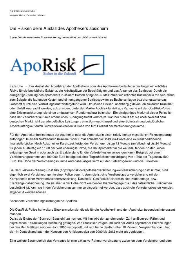 Typ: Unternehmensinformation Kategorie: Medizin | Gesundheit | Wellness Die Risiken beim Ausfall des Apothekers absichern ...