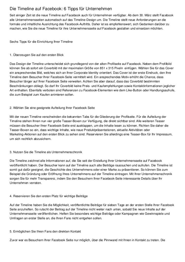 Die Timeline auf Facebook: 6 Tipps für UnternehmenSeit einiger Zeit ist die neue Timeline auf Facebook auch für Unternehme...