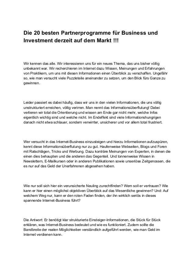 Die20bestenPartnerprogrammefürBusinessund InvestmentderzeitaufdemMarkt!!!   Wirkennendasalle.Wirintere...