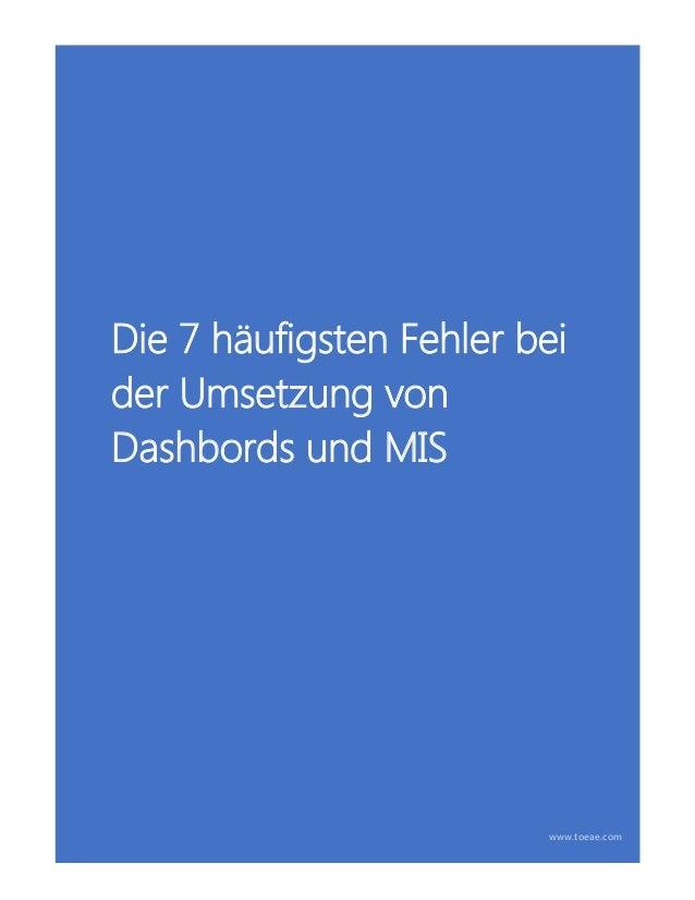 Die 7 häufigsten Fehler bei der Umsetzung von Dashbords und MIS www.toeae.com