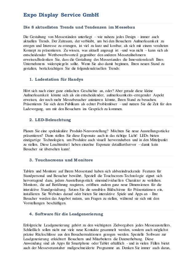 Expo Display Service GmbH Die 8 aktuellsten Trends und Tendenzen im Messebau Die Gestaltung von Messeständen unterliegt – ...