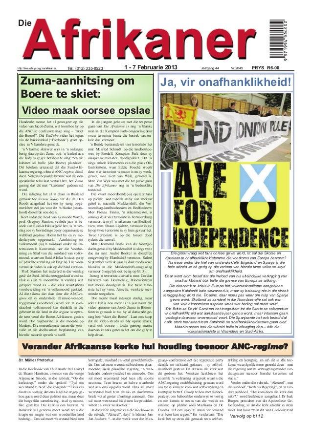Diehttp://www.hnp.org.za/afrikaner    Tel: (012) 335-8523                    1 - 7 Februarie 2013                         ...