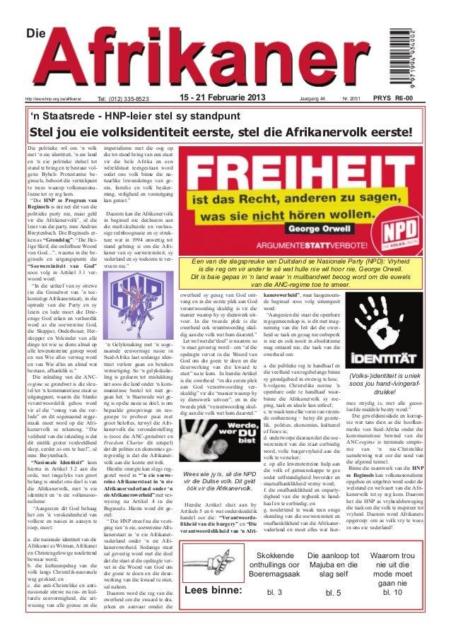 Diehttp://www.hnp.org.za/afrikaner        Tel: (012) 335-8523                    15 - 21 Februarie 2013                   ...