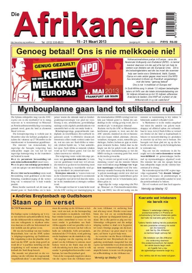 Diehttp://www.hnp.org.za/afrikaner   Tel: (012) 335-8523                      15 - 21 Maart 2013                          ...