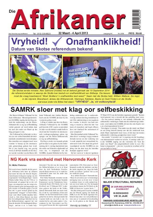 Diehttp://www.hnp.org.za/afrikaner    Tel: (012) 335-8523                   22 Maart - 4 April 2013                       ...