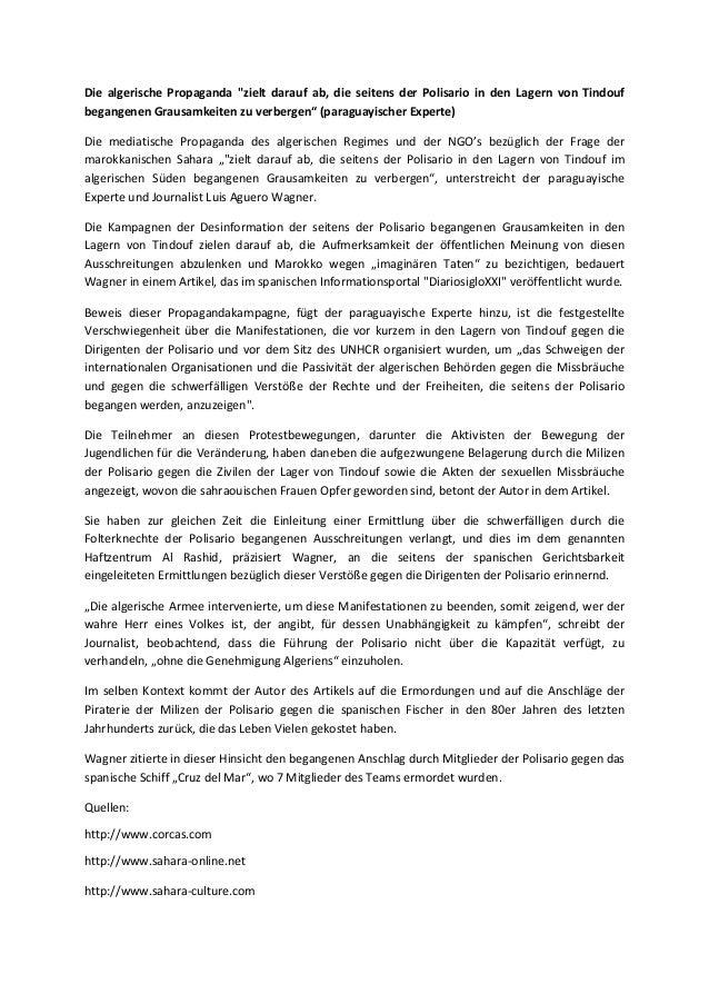 Die algerische propaganda zielt darauf ab, die seitens der polisario in den lagern von tindouf begangenen grausamkeiten zu...