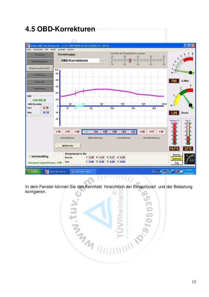 4.5 OBD-KorrekturenIn dem Fenster können Sie das Kennfeld hinsichtlich der Einspritzzeit und der Belastungkorrigieren.    ...