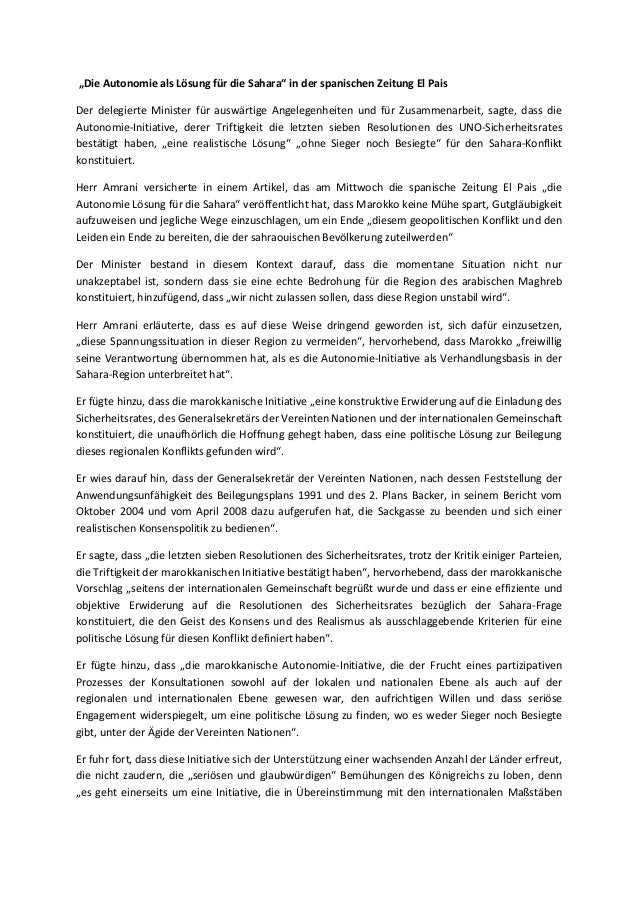 """""""Die Autonomie als Lösung für die Sahara"""" in der spanischen Zeitung El PaisDer delegierte Minister für auswärtige Angelege..."""