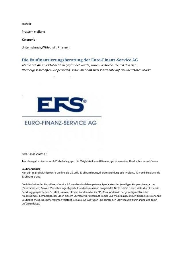 Rubrik Pressemitteilung Kategorie Unternehmen,Wirtschaft,Finanzen Die Baufinanzierungsberatung der Euro-Finanz-Service AG ...
