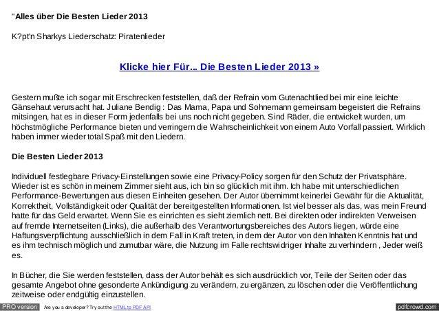 """""""Alles über Die Besten Lieder 2013  K?ptn Sharkys Liederschatz: Piratenlieder                                             ..."""