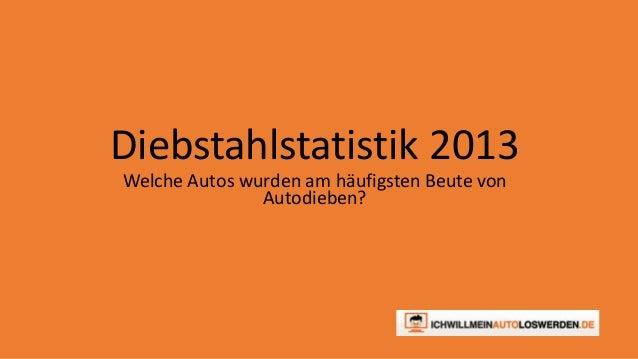 Diebstahlstatistik 2013  Welche Autos wurden am häufigsten Beute von  Autodieben?