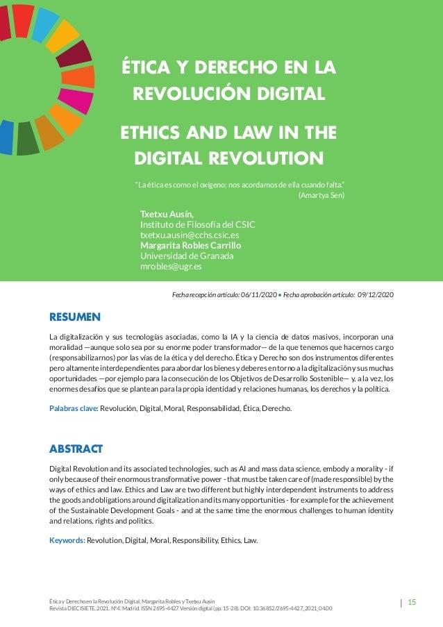 20 Revista Diecisiete  panorama Ética y Derecho en la Revolución Digital. Margarita Robles y Txetxu Ausin Revista DIECISI...