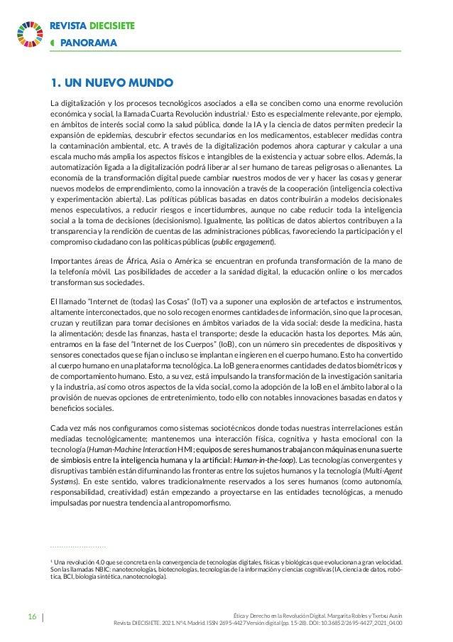 21 Revista Diecisiete panorama  Ética y Derecho en la Revolución Digital. Margarita Robles y Txetxu Ausin Revista DIECISI...