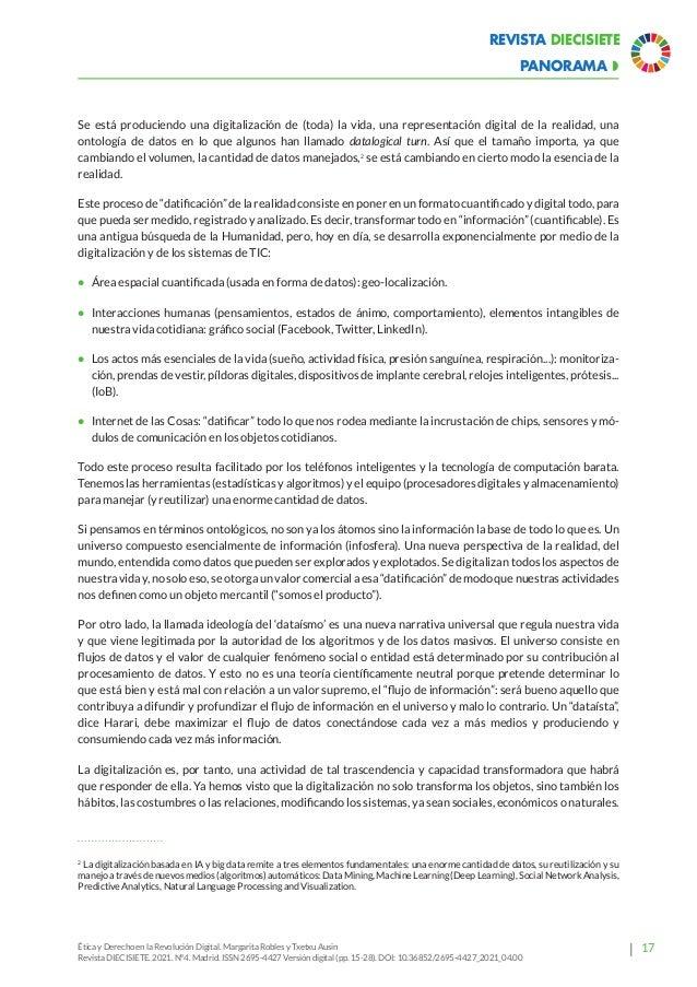 22 Revista Diecisiete  panorama Ética y Derecho en la Revolución Digital. Margarita Robles y Txetxu Ausin Revista DIECISI...