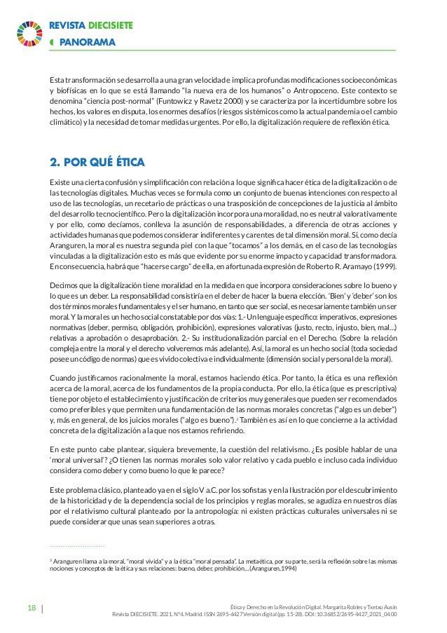 23 Revista Diecisiete panorama  Ética y Derecho en la Revolución Digital. Margarita Robles y Txetxu Ausin Revista DIECISI...