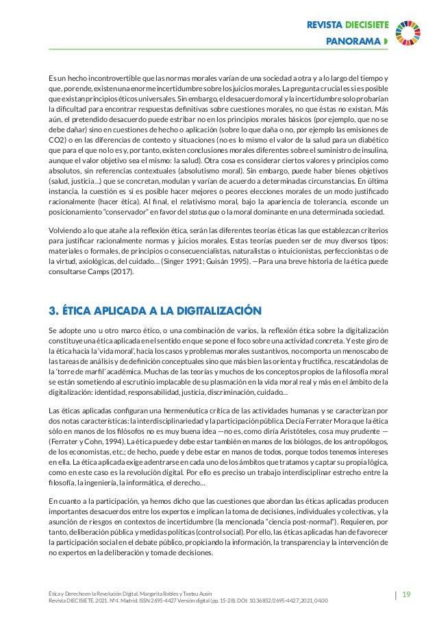 24 Revista Diecisiete  panorama Ética y Derecho en la Revolución Digital. Margarita Robles y Txetxu Ausin Revista DIECISI...