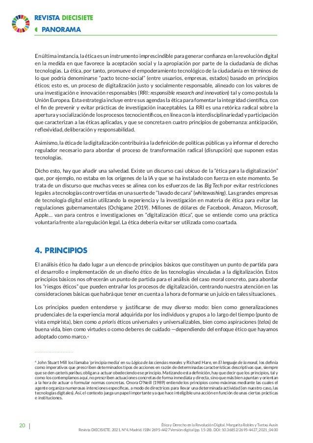 25 Revista Diecisiete panorama  Ética y Derecho en la Revolución Digital. Margarita Robles y Txetxu Ausin Revista DIECISI...