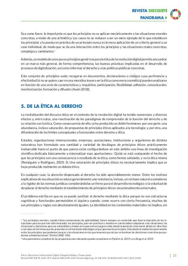 26 Revista Diecisiete  panorama Ética y Derecho en la Revolución Digital. Margarita Robles y Txetxu Ausin Revista DIECISI...