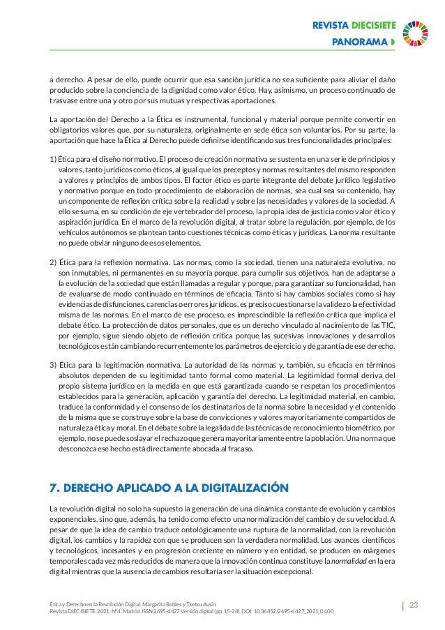 28 Revista Diecisiete  panorama Ética y Derecho en la Revolución Digital. Margarita Robles y Txetxu Ausin Revista DIECISI...