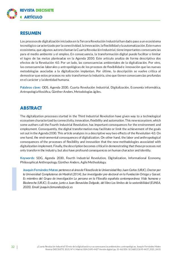 38 Revista Diecisiete  ARTÍCULO ¿Cuarta Revolución Industrial? El reto de la digitalización y sus consecuencias ambiental...