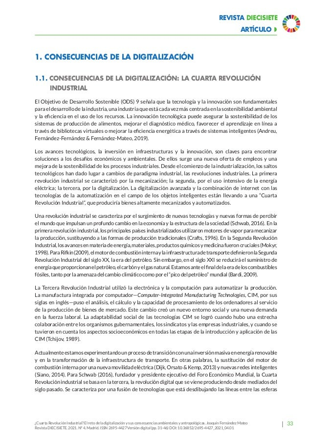 39 Revista Diecisiete ARTÍCULO  ¿Cuarta Revolución Industrial? El reto de la digitalización y sus consecuencias ambiental...