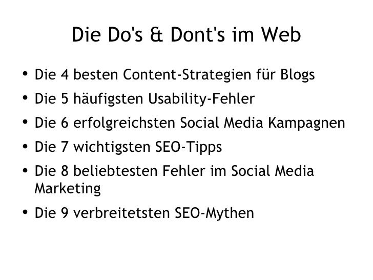 Die Do's & Dont's im Web